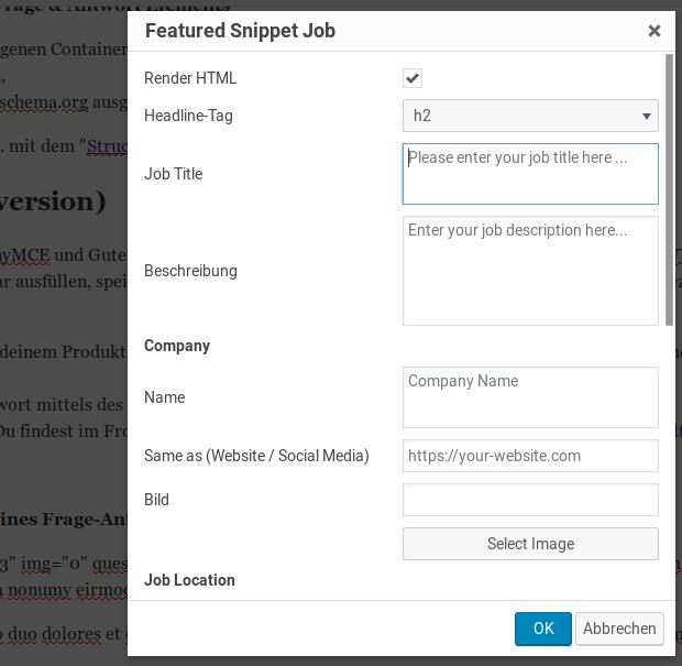 JobPosting Modal TinyMCE